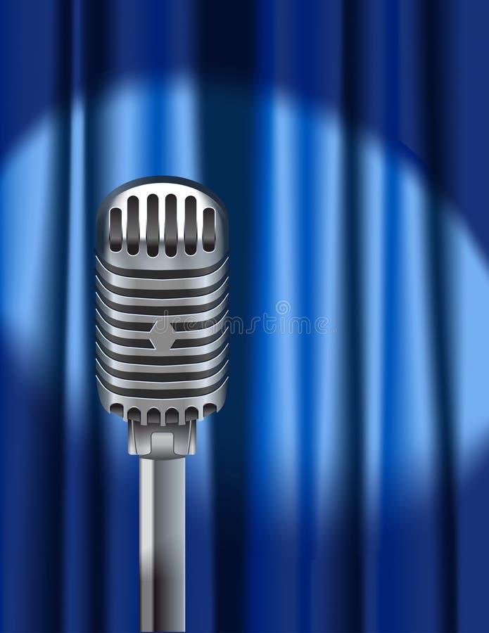 Microfone e cortina azul ilustração stock