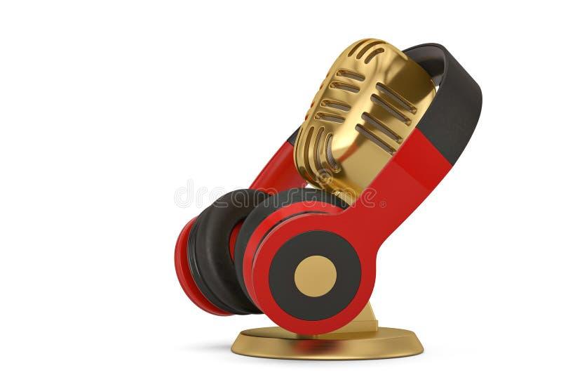 Microfone e fones de ouvido isolados no fundo branco ilustra??o 3D ilustração do vetor