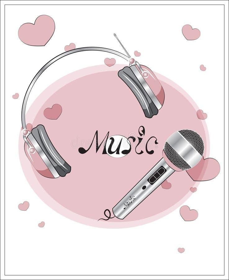 Microfone e fones de ouvido ilustração royalty free