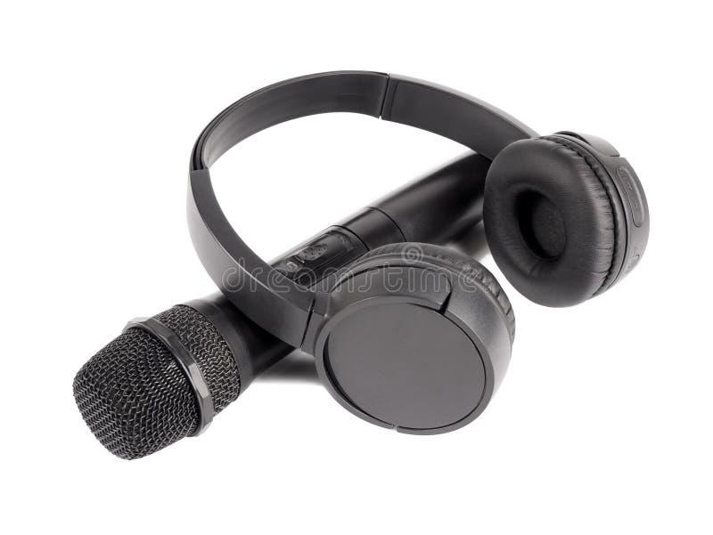 Microfone e fones de ouvido sem fio fotografia de stock