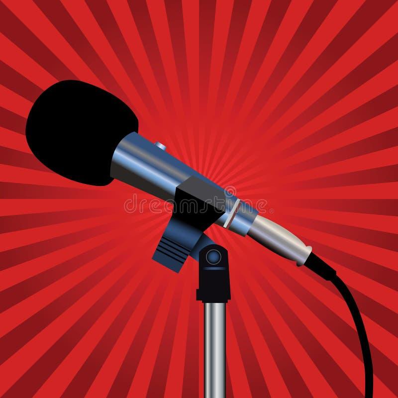 Microfone e raias vermelhas ilustração do vetor