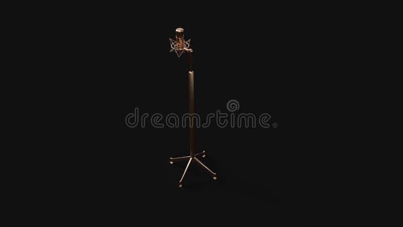 Microfone e suporte de bronze de bronze ilustração stock