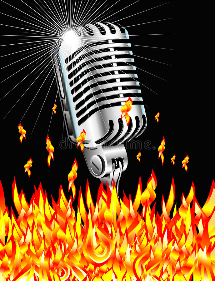 Microfone flamejante ilustração stock