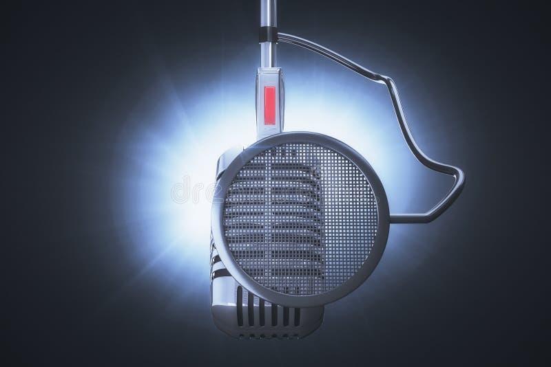 Microfone a gravar ilustração royalty free