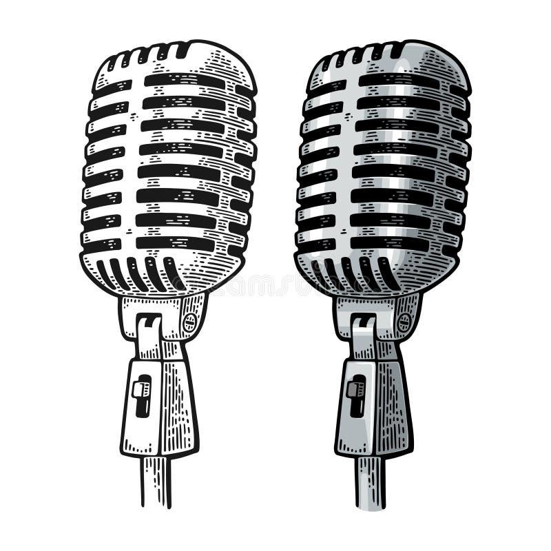 Microfone Ilustração da gravura do preto e da cor do vetor do vintage no branco ilustração do vetor