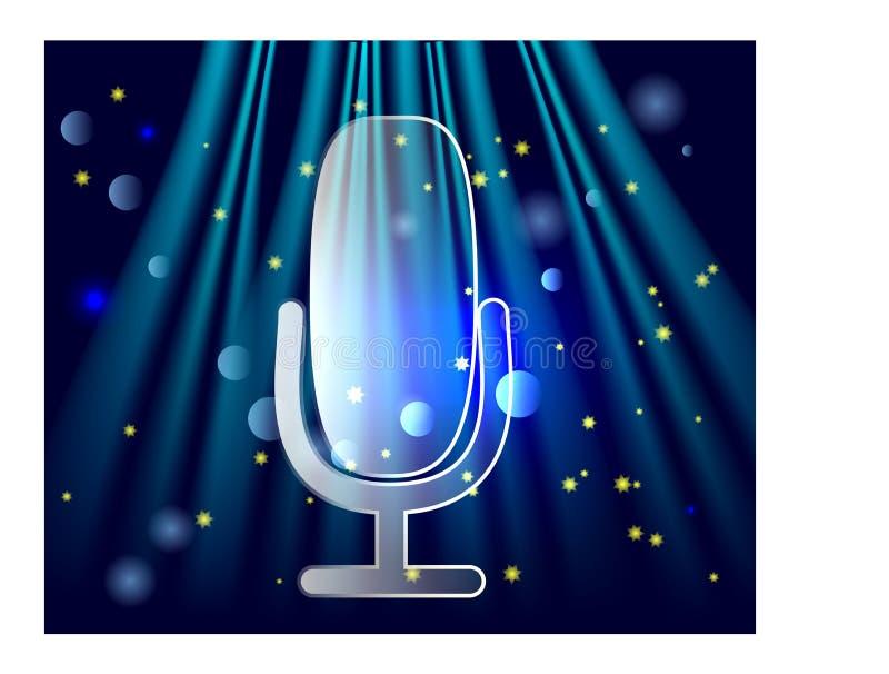 Microfone no est?gio O profissional levanta-se o conceito do mic da transmiss?o da cortina do teatro ilustração do vetor