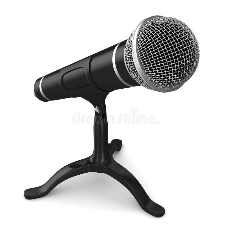 Microfone no fundo branco Ilustração 3d isolada ilustração royalty free