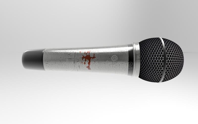 Microfone no fundo cinzento imagens de stock royalty free