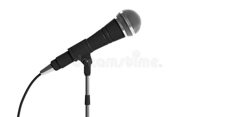 Microfone no suporte isolado no fundo branco ilustração 3D ilustração stock