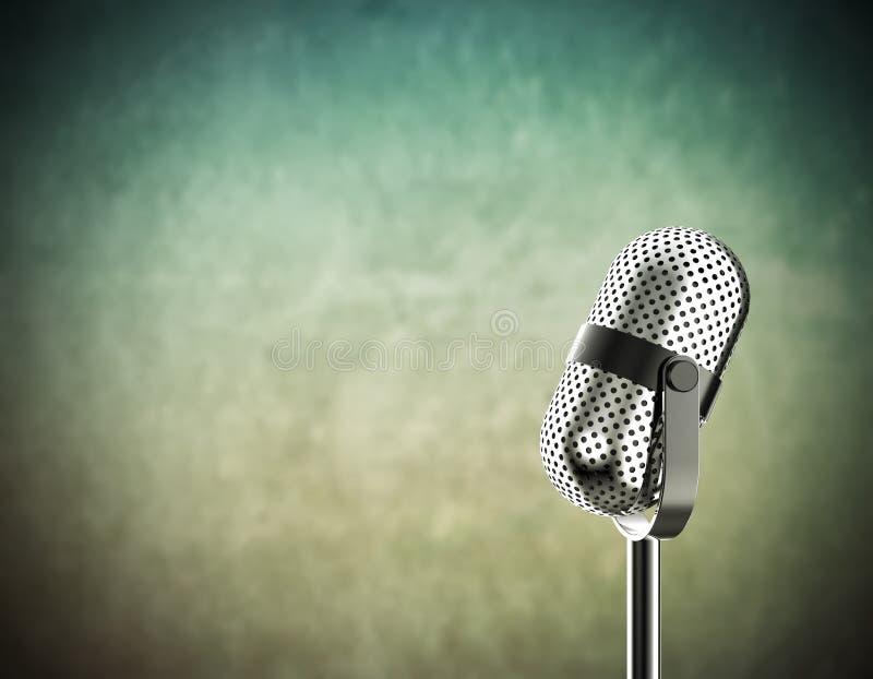 Microfone no verde imagem de stock