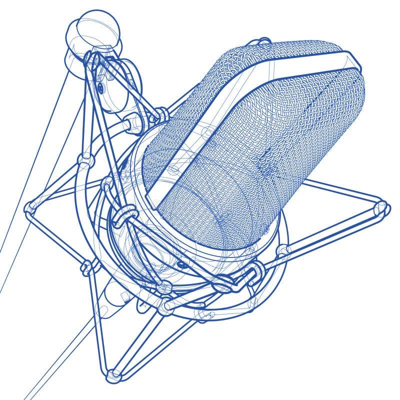 Microfone profissional ilustração stock