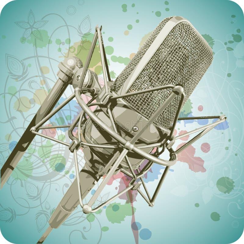 Microfone profissional & caligrafia floral ilustração royalty free