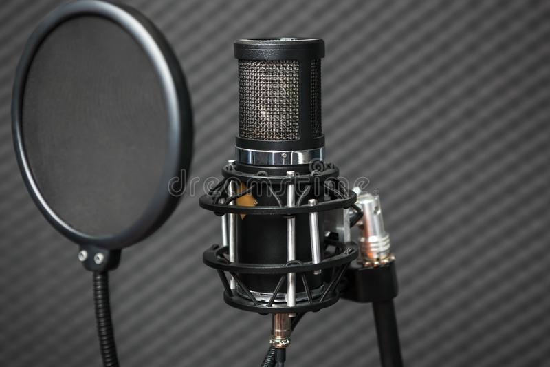 Microfone profissional do estúdio do condensador imagem de stock royalty free