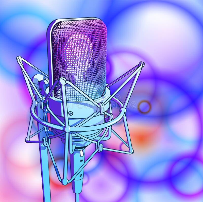 Microfone profissional em um fundo multi-colorido brilhante ilustração stock