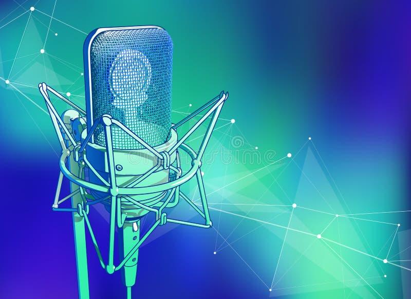 microfone profissional em um fundo tecnologico azul esverdeado frio ilustração do vetor