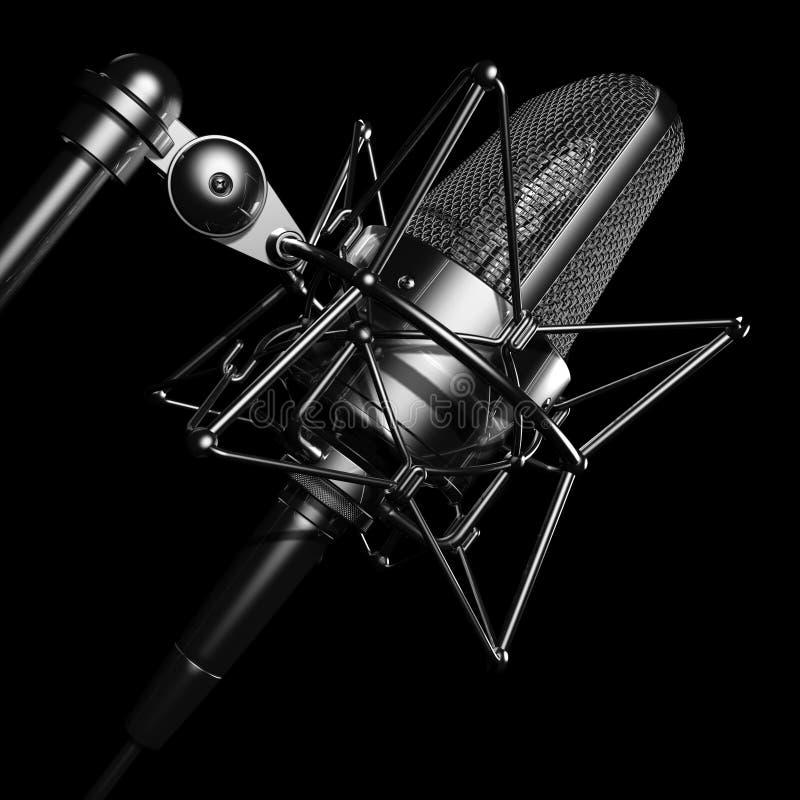 Microfone profissional preto fotografia de stock