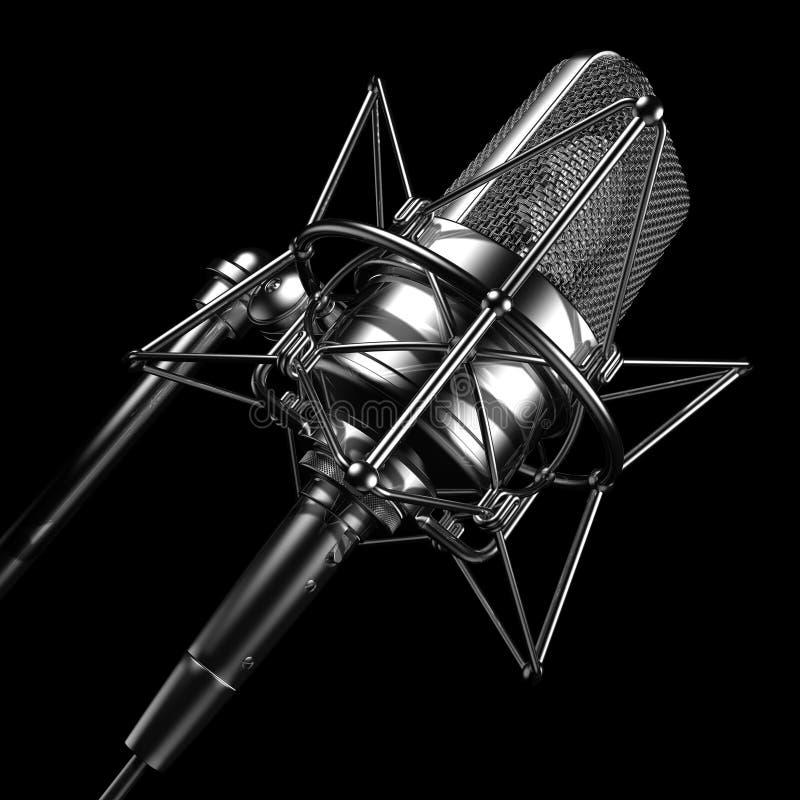 Microfone profissional preto foto de stock royalty free