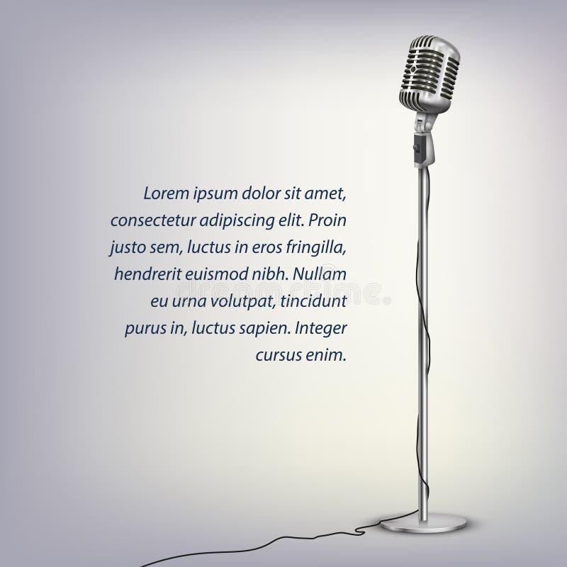 Microfone retro de prata ilustração stock
