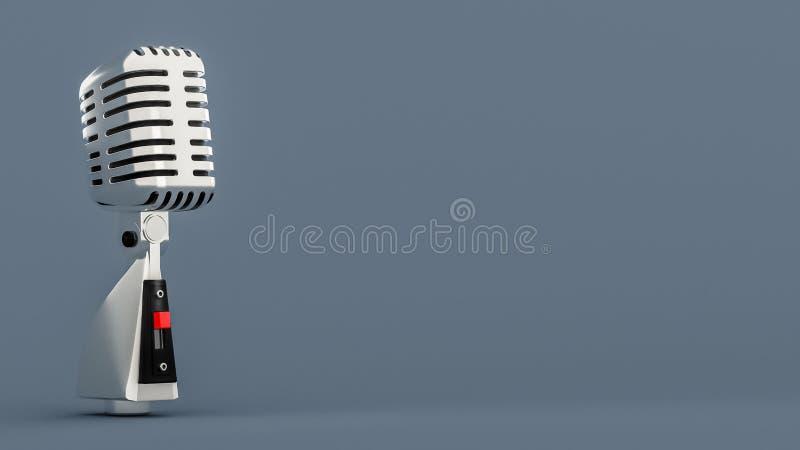Microfone retro de prata do vintage no fundo cinzento ilustração royalty free