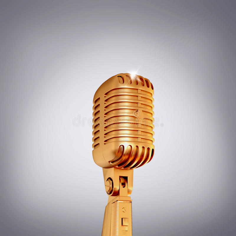 Microfone retro dourado no fundo cinzento fotos de stock