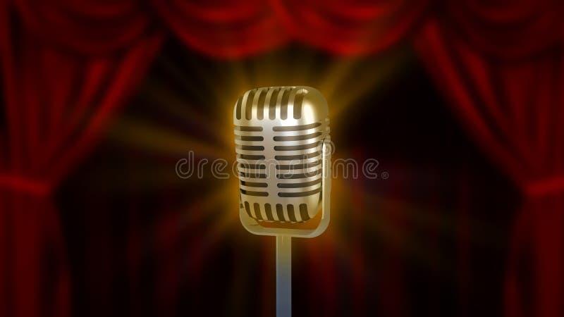 Microfone retro e cortinas vermelhas ilustração stock