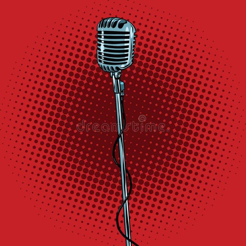 Microfone retro e suporte ilustração royalty free