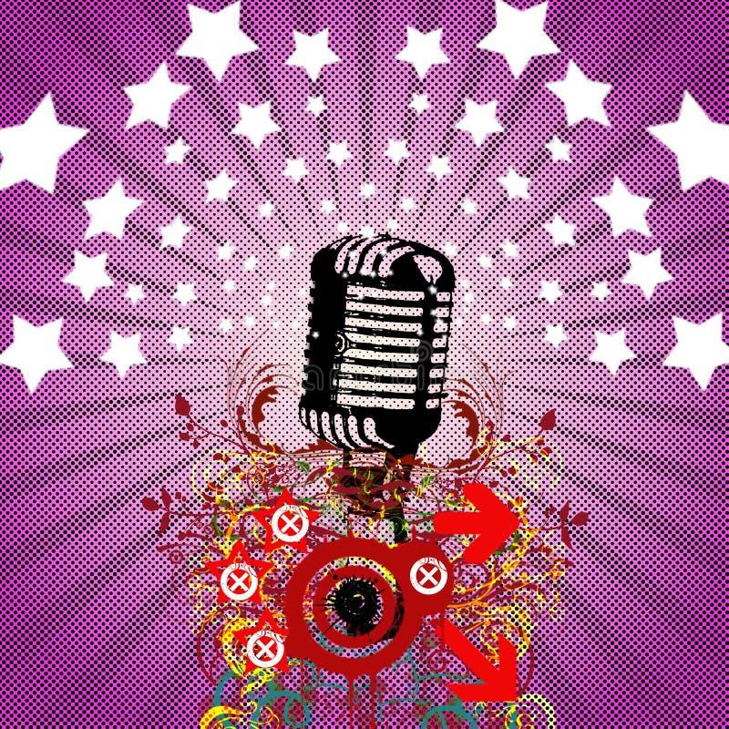 Microfone retro - insecto do partido ilustração stock