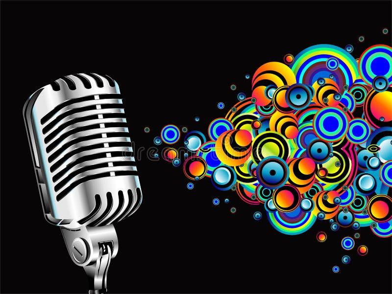 Microfone retro mágico ilustração stock