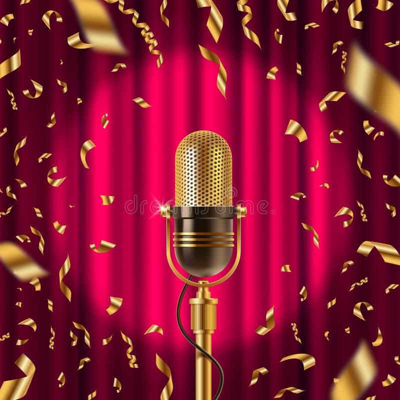 Microfone retro no estágio ilustração stock