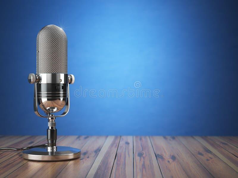 Microfone velho retro Show radiofônico ou conceito audio do podcast Vinta ilustração stock