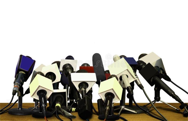 Microfones da conferência de imprensa imagem de stock royalty free