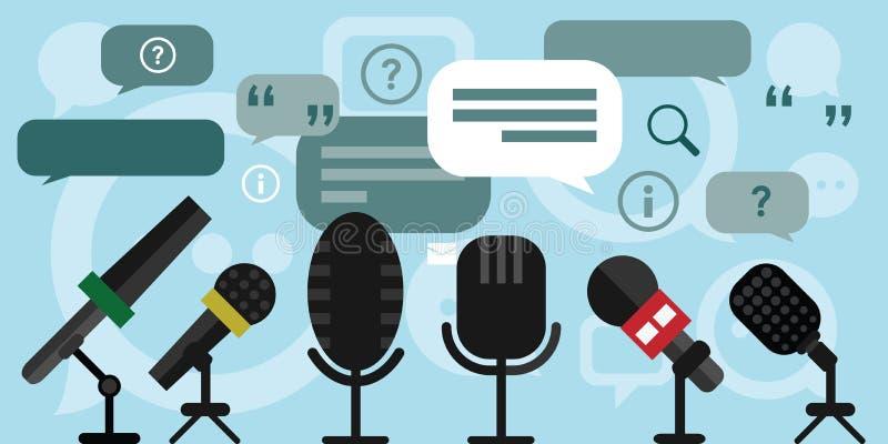 Microfones da conferência de imprensa ilustração do vetor