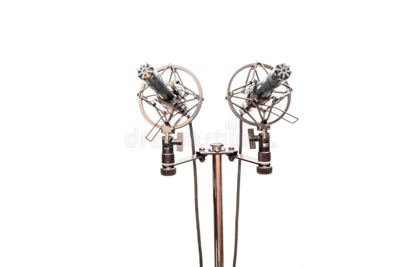 Microfones de condensador estereofônicos com os cabos, os shockmounts e o suporte isolados no branco fotografia de stock royalty free