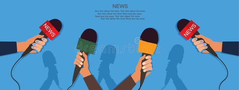Microfones e gravadora de voz nas mãos dos repórteres na conferência ou na entrevista de imprensa Conceito do jornalismo Vetor ilustração stock