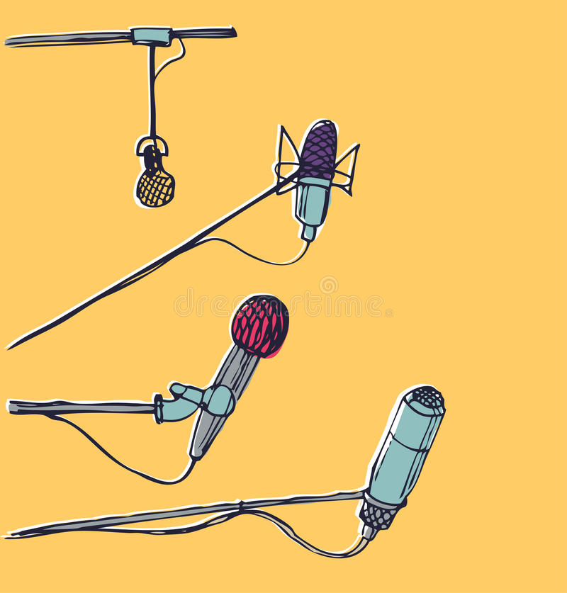 Microfones. Elementos gráficos desenhados à mão ilustração royalty free