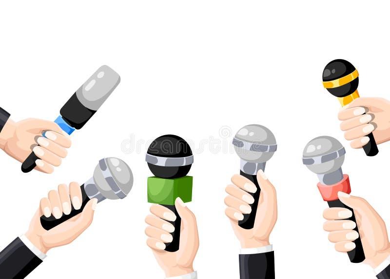 Microfones nas mãos do repórter Grupo de microfones isolados no fundo branco Televisão, entrevista Ilustração lisa B ilustração stock