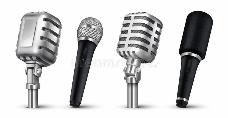 Microfones realísticos estúdio 3D e equipamento audio da cena, vintage e mics moderno do metal isolados no branco Blogue do vetor ilustração stock