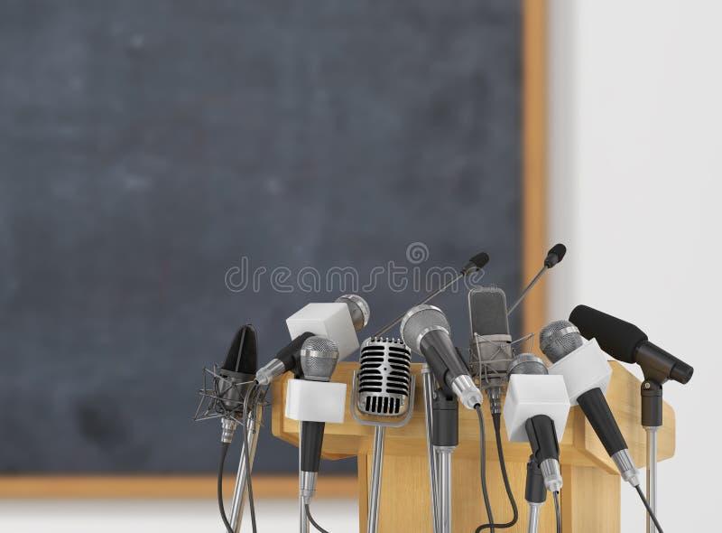 Microfoni di riunione di conferenza con la tribuna immagine stock
