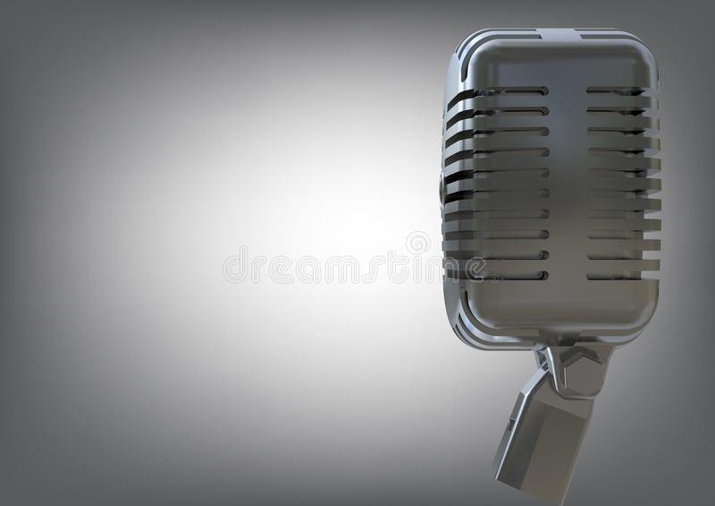 Microfono argenteo su un gray illustrazione vettoriale