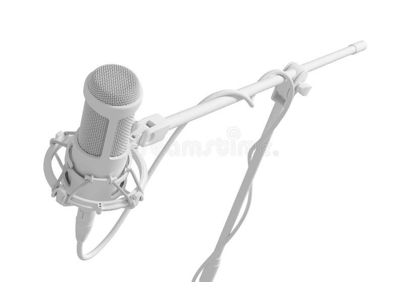 Microfono bianco sopra fondo bianco illustrazione vettoriale