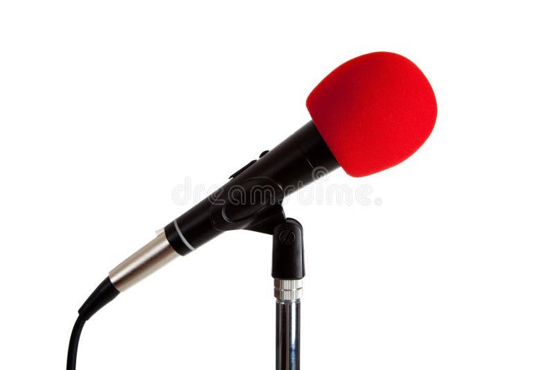 Microfono con il tergicristallo rosso fotografia stock