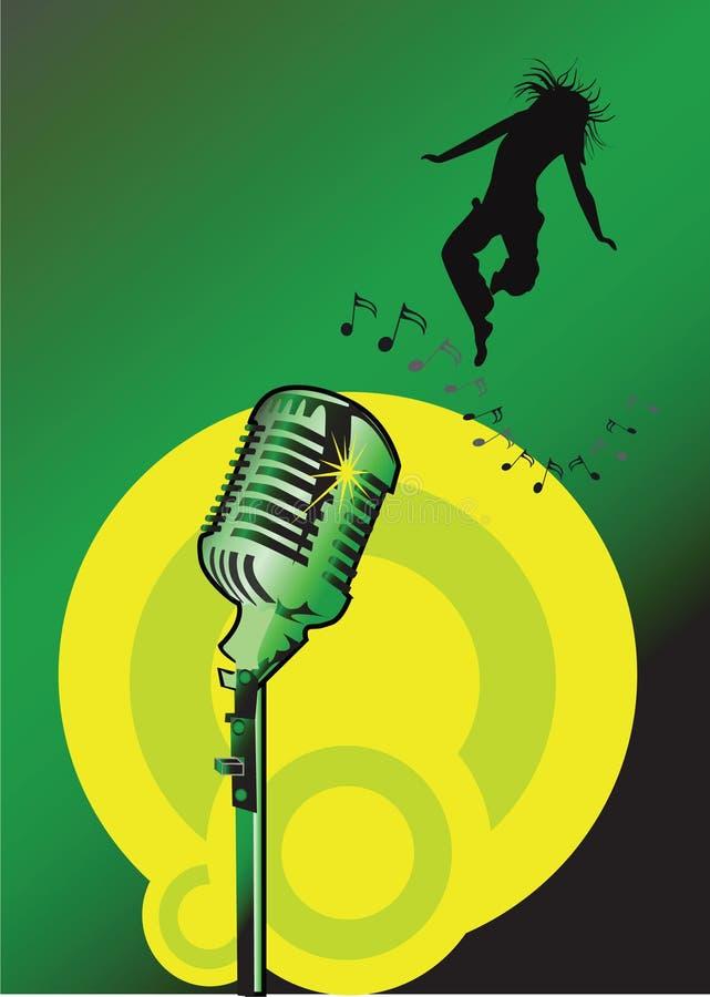 Microfono con la ragazza di salto royalty illustrazione gratis