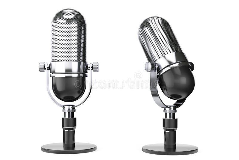 Microfono d'argento d'annata fotografie stock libere da diritti