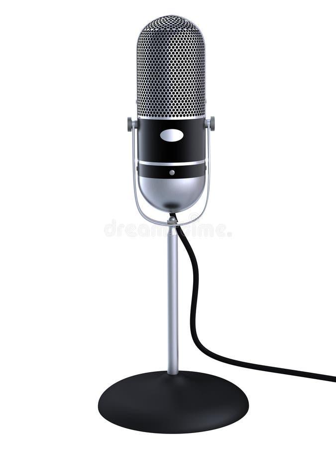 Microfono d'argento dell'annata illustrazione di stock
