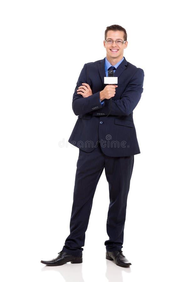 Microfono del reporter di notizie fotografia stock