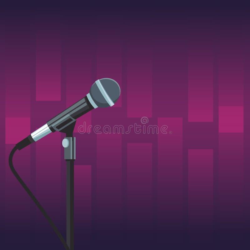 Microfono della fase sopra fondo porpora illustrazione di stock
