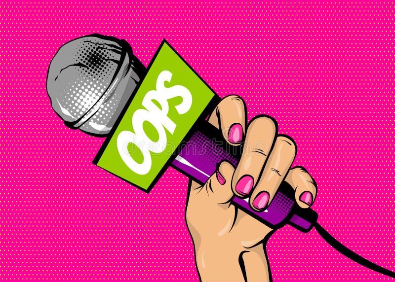Microfono della tenuta della mano di Pop art della donna oops illustrazione di stock