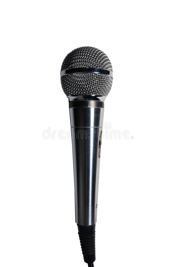 Microfono di acciaio al cromo isolato su un fondo bianco immagini stock libere da diritti