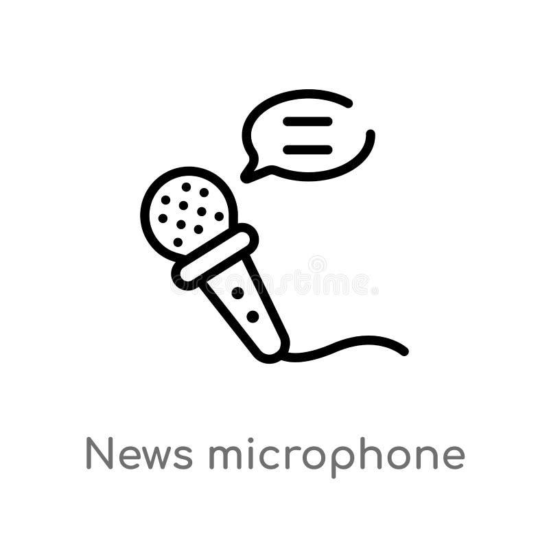 microfono di notizie del profilo ed icona di vettore dei fumetti linea semplice nera isolata illustrazione dell'elemento dagli st illustrazione di stock