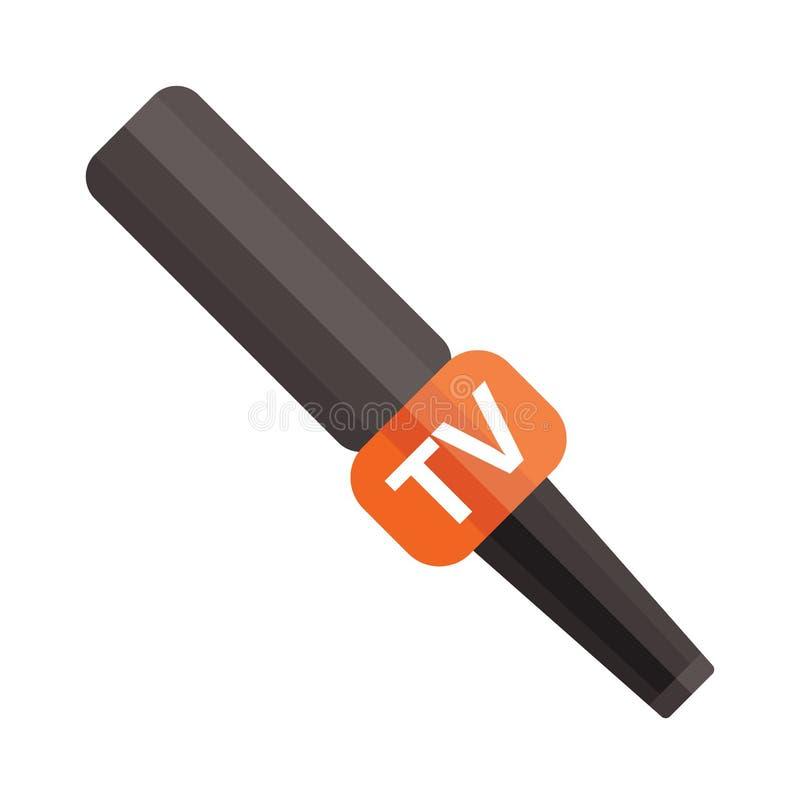 Microfono di notizie della TV con la scatola in bianco isolata su un'illustrazione piana di vettore del fondo bianco illustrazione di stock